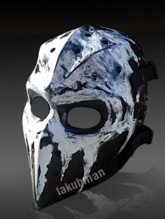 Hockey Goalie masks get pretty dark, imagine that. Heroshark, a guy on Arnie's Airsoft started making fiberglass masks based on goalie masks, and he's been a big inspiration to me Manga Tribal, Paintball Mask, Casey Jones, Armor Clothing, Goalie Mask, Hockey Goalie, Skull Mask, Armor Concept, Masks Art
