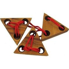 Three Triangles String Brain Teaser Wood Puzzle
