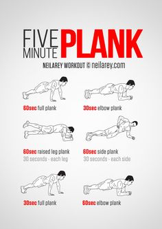 Five minute plank workout for a stronger core. Visual guide: print & use.