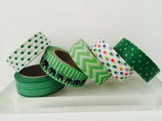 Green Washi Tape in 6 Patterns