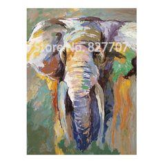 Pintado a mano moderno elefante pintura al óleo imagen de la sala decoración abstracta de la historieta arte en la lona(China (Mainland))