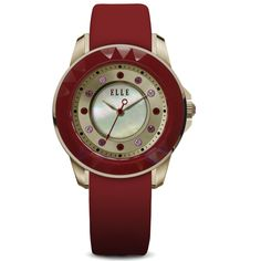 Radiant Time Collection; Watch, IP Rose Gold and Red Case and MOP/Sunray Dial with Swarovski Crystals and Red Satin Leather Strap