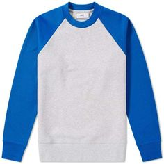AMI Contrast Crew Sweat (Royal Blue) | END. ($259) ❤ liked on Polyvore featuring tops, hoodies, sweatshirts, royal blue sweatshirt, royal blue top, crew-neck sweatshirts, crewneck sweatshirt and crew neck top