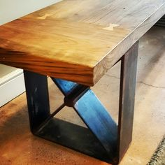 Bench Made from Reclaimed Wood & Metal