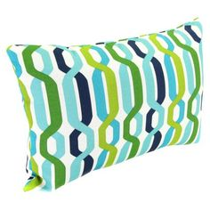 Outdoor Rectangle Toss Pillow - Blue/Green Geometric Quick Information Outdoor Cushions And Pillows, Blue Pillows, Toss Pillows, Outdoor Pillow, Patio Accessories, House Colors, Outdoor Spaces, Blue Green, Sweet Home