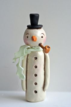 Winter Snowman with Pipe Christmas Decoration by indigotwinholiday