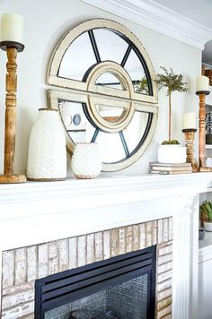 Decorate a mantel like a pro. Here are easy and doable tips to create the perfect mantel every time! Fall Mantel Decorations, Mantle Decorating, Decorating Ideas, Decor Ideas, Mantel Ideas, Beige Throws, Fireplace Mantle, Fireplace Ideas, Fireplace Furniture