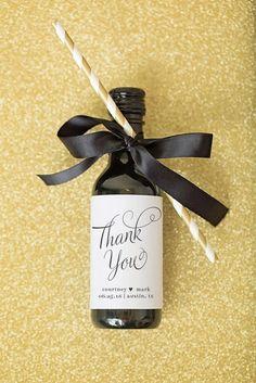 Mini Wine Bottle Label Wedding Favors Thank You Script by paperandlace on Etsy https://www.etsy.com/listing/253535579/mini-wine-bottle-label-wedding-favors