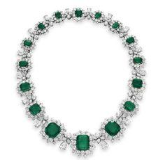 Emerald and Diamond Necklace-Elizabeth Taylor