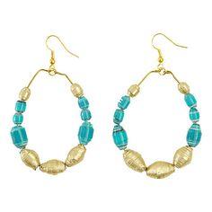 Turquoise Bead Hoop Earrings - Swaziland