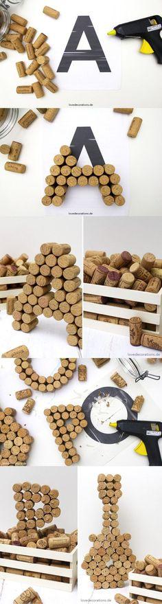 63 Ideas diy decoracion habitacion manualidades paso a paso Wine Cork Crafts, Wine Bottle Crafts, Diy Crafts To Sell, Diy Crafts For Kids, Cork Art, Diy Kitchen Decor, Diy Gifts, Ideas Para, Letters Decoration