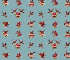 tattoo_design fabric by daniellehanson on Spoonflower - custom fabric  Wie geeft me een goed idee om hier wat mee te maken? Ik ben weg van het dessin...maar wordt het een jurk, rok, blouse en in combinatie met...?