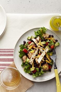 Crispy Tortilla Ancho Chicken Salad recipe