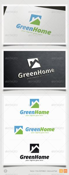Green Home Logo Green Home Logo Template This is a great logo template for real estate, ecology, nature company. – Vector – Editable and Resizable – CMYK – Print and Web Ready Logo Inspiration, Nature Company, Roofing Logo, Stamped Business Cards, Property Logo, Pamphlet Design, Branding Design, Logo Design, Farm Logo