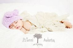 Easter Baby Hat Crocheted Beanie Lilac Bow by iaFlowerPower, $25.00