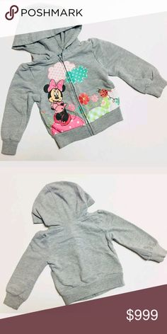 Disney Minnie Mouse Baby Girl 18M Zip Hoodie DISNEY BABY Minnie Mouse Zip Hoodie  Condition: pre-owned Size: 18 Months Color: gray Product Detail:  Very Good condition  - light wash wear, light stains-  Full zip hoodie Front Minnie mouse design Two pocket design Disney Shirts & Tops Sweatshirts & Hoodies