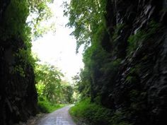 James River Heritage Trail with the glowing Hollins Tunnel, Lynchburg, VA