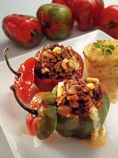 Rocoto relleno by Restaurante el Rocoto - filled peruvian peppers, different than stuffed bell peppers. Peruvian food/ comida peruana l Peruvian Dishes, Peruvian Cuisine, Peruvian Recipes, Good Food, Yummy Food, Tasty, Comida Latina, Latin Food, International Recipes