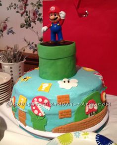 Coolest Super Mario on Buttercream Cake... This website is the Pinterest of birthday cake ideas