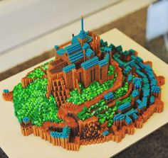 3D Mont Saint Michel (France) perler beads by lotso0408
