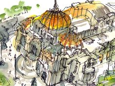 Palacio de Bellas Artes in Mexico City. Sketched  from Torre Latinoamericana, the tallest building in Mexico City. Watercolor, pen and ink.