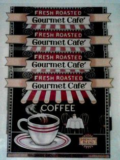 """4 FRESH ROASTED GOURMET CAFE COFFEE Placemats 12""""x17"""" Red Brown White New #Unbranded Bistro Kitchen Decor, Cool Items, Invitations, Invite, Four Seasons, Roast, Fresh, Coffee, Holiday Decor"""