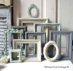 Mint Green and Gray Painted Picture Frames Made to ORDER Set