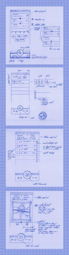 gui wireframe / sketch *** Train Finder by gabor styt, via Behance