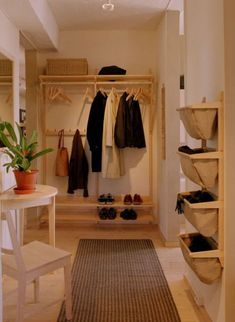 This can be accomplished via a number of apartment decorating ideas and strategies, most of which are easy yet impactful. Build Your Own Wardrobe, Utility Room Designs, Hall Room, Hallway Storage, Japanese Interior, Hallway Decorating, Decorating Ideas, Closet Bedroom, Simple House
