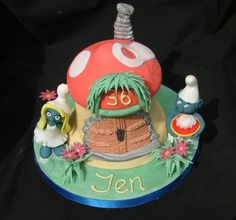 smurf house birthday cake