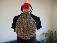Bag Crochet Brown White Viscose Acrylic by MinnieCreation on Etsy, €37.82