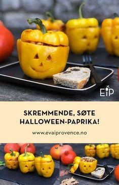 SKREMMENDE, SØTE HALLOWEEN-PAPRIKA – BARNAS FAVORITT! Bon Appetit, Baked Potato, Squash, Potatoes, Baking, Halloween, Ethnic Recipes, Food, Pumpkins