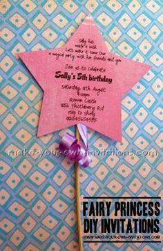 Diy Birthday Party Fairy Invitations - this invite is a magic star wand. Perfect for a fairy princess.