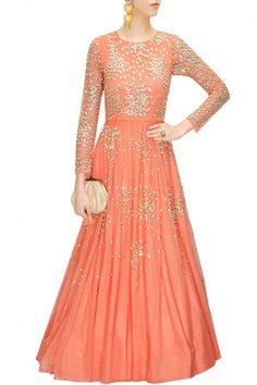 Peach colour anarkali gown – Panache Haute Couture