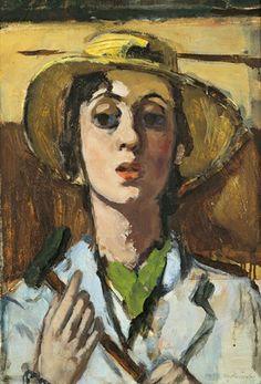 Self-Portrait-with-Straw-Hat Marie-Louise von Motesiczky