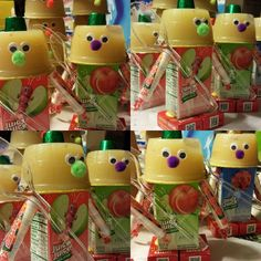 Healthy robots for my preschool son turning Apple cinnamon sauce, raisins, smarties, and one rolo! Preschool Birthday Treats, Healthy Birthday Treats, Healthy Treats, Healthy Kids, Slumber Party Birthday, Slumber Parties, 4th Birthday, Birthday Ideas, School Treats