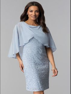 Blue Lace Mother-of-the-Bride Short Dress with Cape #Dress
