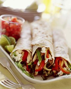 Summer Burrito - Whole Living Eat Well,Flour tortillas can be wrapped around everything from Caesar salad to classic burrito combinations Mexican Food Recipes, Dinner Recipes, Healthy Recipes, Ethnic Recipes, Mexican Meals, Healthy Meals, Good Food, Yummy Food, Picnic Foods