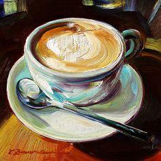 'Whole Latte Love' by Caroline Zimmermann, Oil on Board - Framed, Coffee Artwork, Coffee Cup Art, Food Painting, Coffee Painting, Mini Canvas Art, Aesthetic Painting, Arte Pop, Pastel Art, Fine Art Gallery