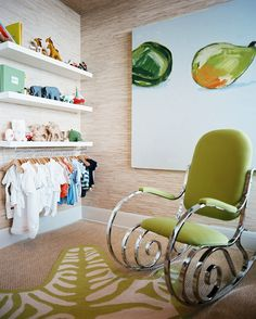 The Closet is a bad idea.  the hanging clothes are too low for Mom to flip through in search of something that fits, but just right for little hands to pull down.  But that rocker!  Oh Yeah!  So elegant.  I love the lines.