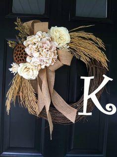 Cream Country Fall Wreath -Fall Hydrangea Rose Wheat Wreath - Monogrammed Wreath - Burlap Cream Neutral Wreath - Fall Wreaths - Wreaths