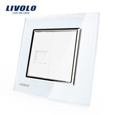 Livolo Panel de Cristal Cristal Blanco, una Cuadrilla de Enchufe para Ordenador/Salida VL-C791C-11, sin adaptador de Enchufe