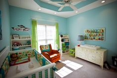 baby boy nursery, aqua and orange, vintage, jungle animals
