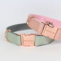 PASTELS  The BLUSH and the MINT collar - handmade from super soft faux leather with rose gold colored hardware!  Shop www.prunkhund.com