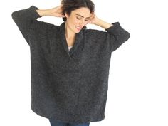 Plus Size Dark Gray Hand Knitted Sweater Tunic Sweater by afra