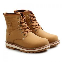 Street Style Lace-Up and Letter Print Design Men's Boots, EARTHY, 38 in Men's Shoes   DressLily.com