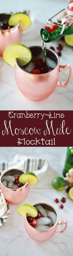 THis is so quick and easy that I wasn't expecting it to taste so yummy. It was a big hit at my Holiday party. Cranberry Lime Moscow Mule MOCKTAIL! Yummy...