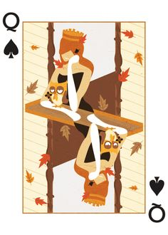 Queen of Spades - Royal Seasons playing cards by Ricky Linn Playing Cards Art, Custom Playing Cards, Ace Of Hearts, Queen Of Spades, Illustration Vector, Thing 1, Royal Design, Deck Of Cards, Creative Cards
