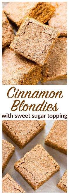 Cinnamon Blondies. SOFT and CHEWY with a buttery cinnamon sugar topping. Easy dessert recipe that everyone will love! Recipe at wellplated.com | @wellplated
