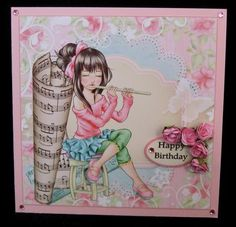 music is my life  on Craftsuprint designed by Gail Collins - made by Suzi Cooper - I printed onto glossy photo card then mounted onto a pale pink card blank using DST. I added the greeting panelusing 2mm foam pads. I added pink mulberry roses to the side of the greeting then finished with pale pink gems. - Now available for download!